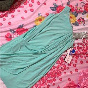 Formal mini dress (mint teal diamond )